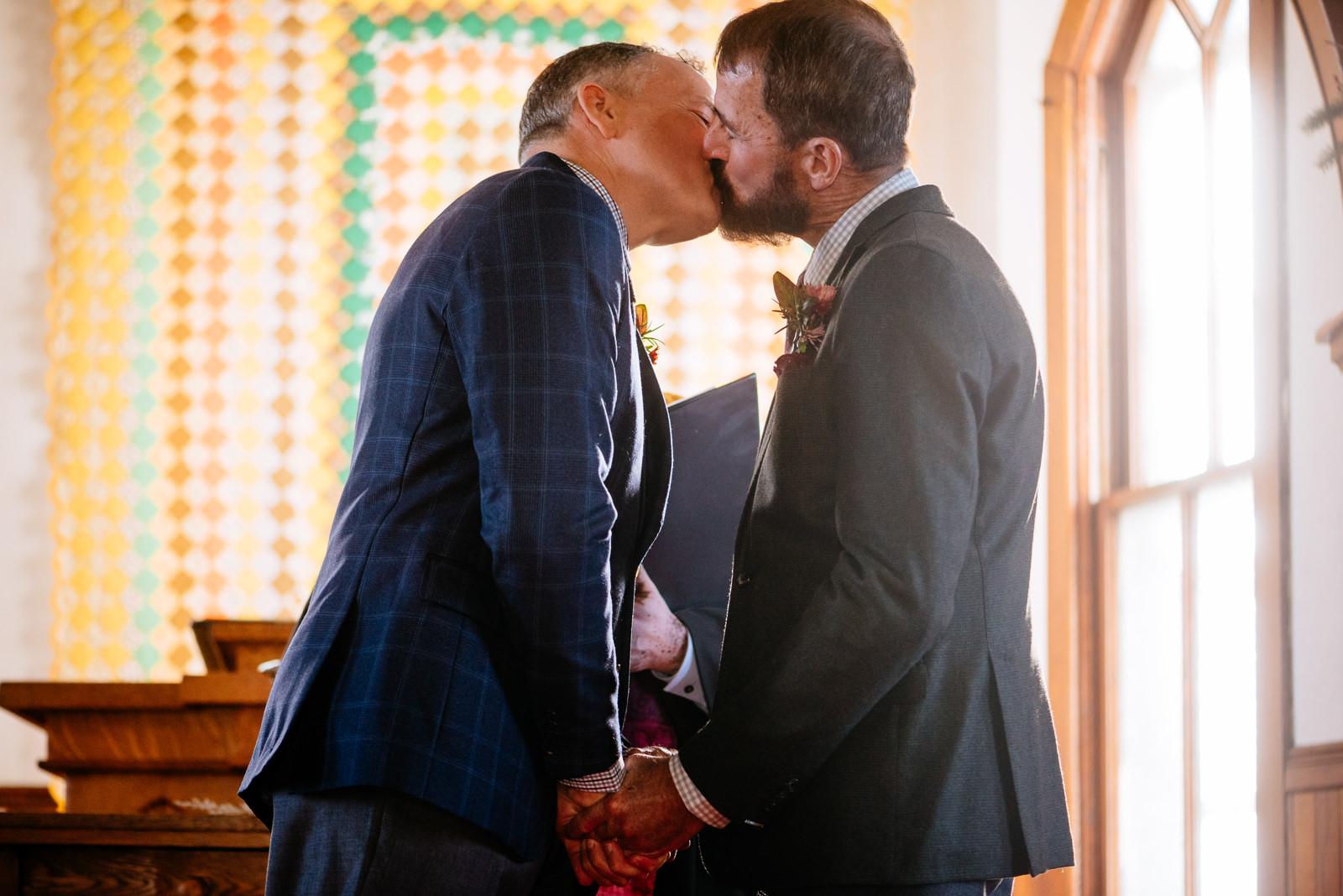 first kiss ceremony gay wv farm wedding
