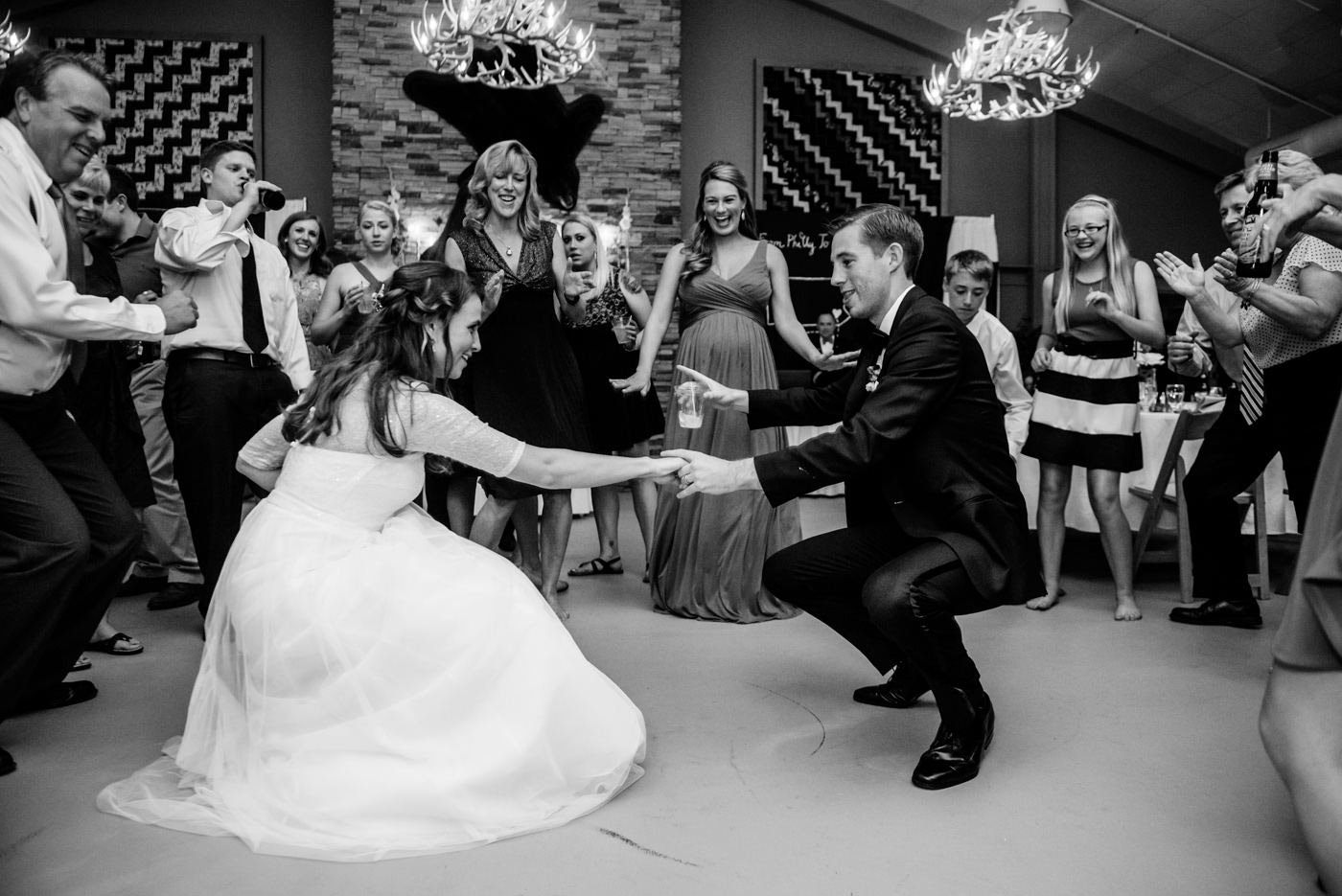 bride and groom gettin down at wedding reception canaan valley