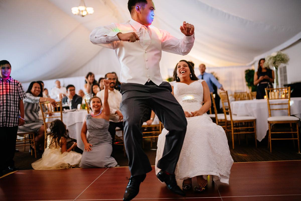 happy wedding guests at marriott pavilion wv wedding