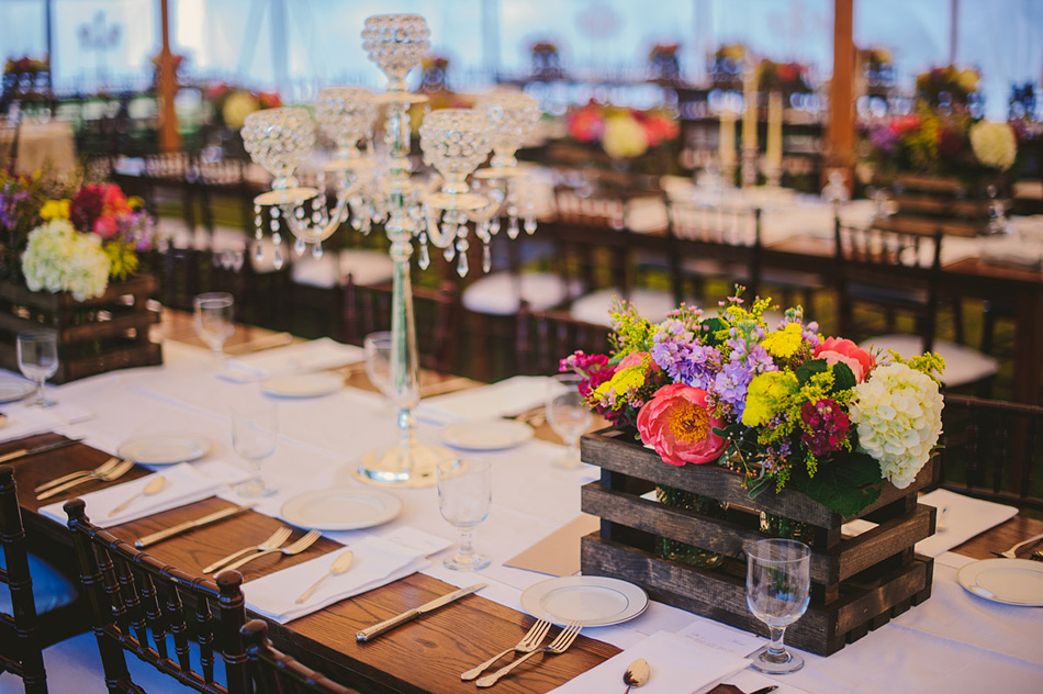 wedding details tablescape wood flower box