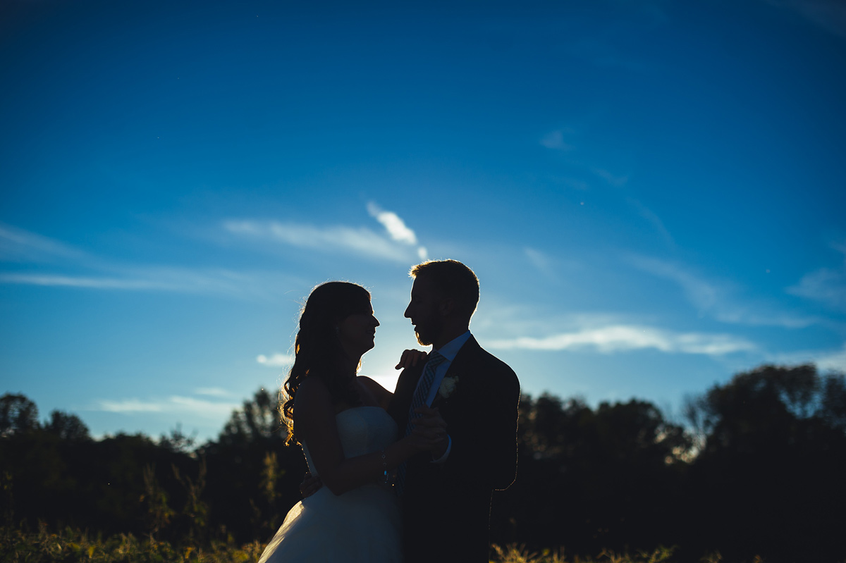 first dance in the driveway at sunset