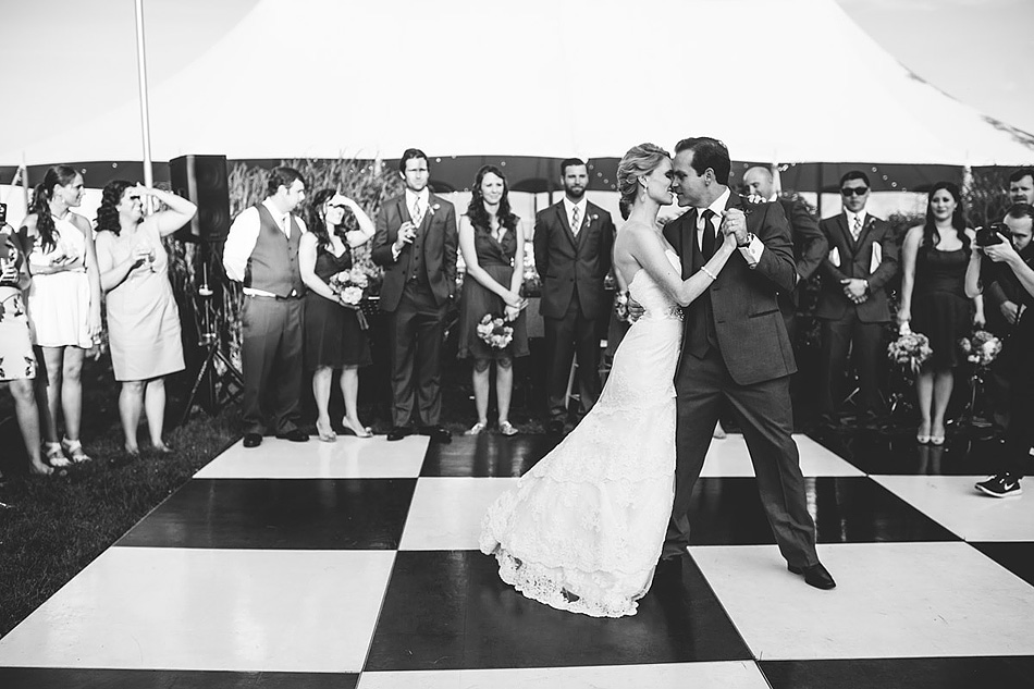 first dance black and white wedding photojournalism checkerboard dancefloor