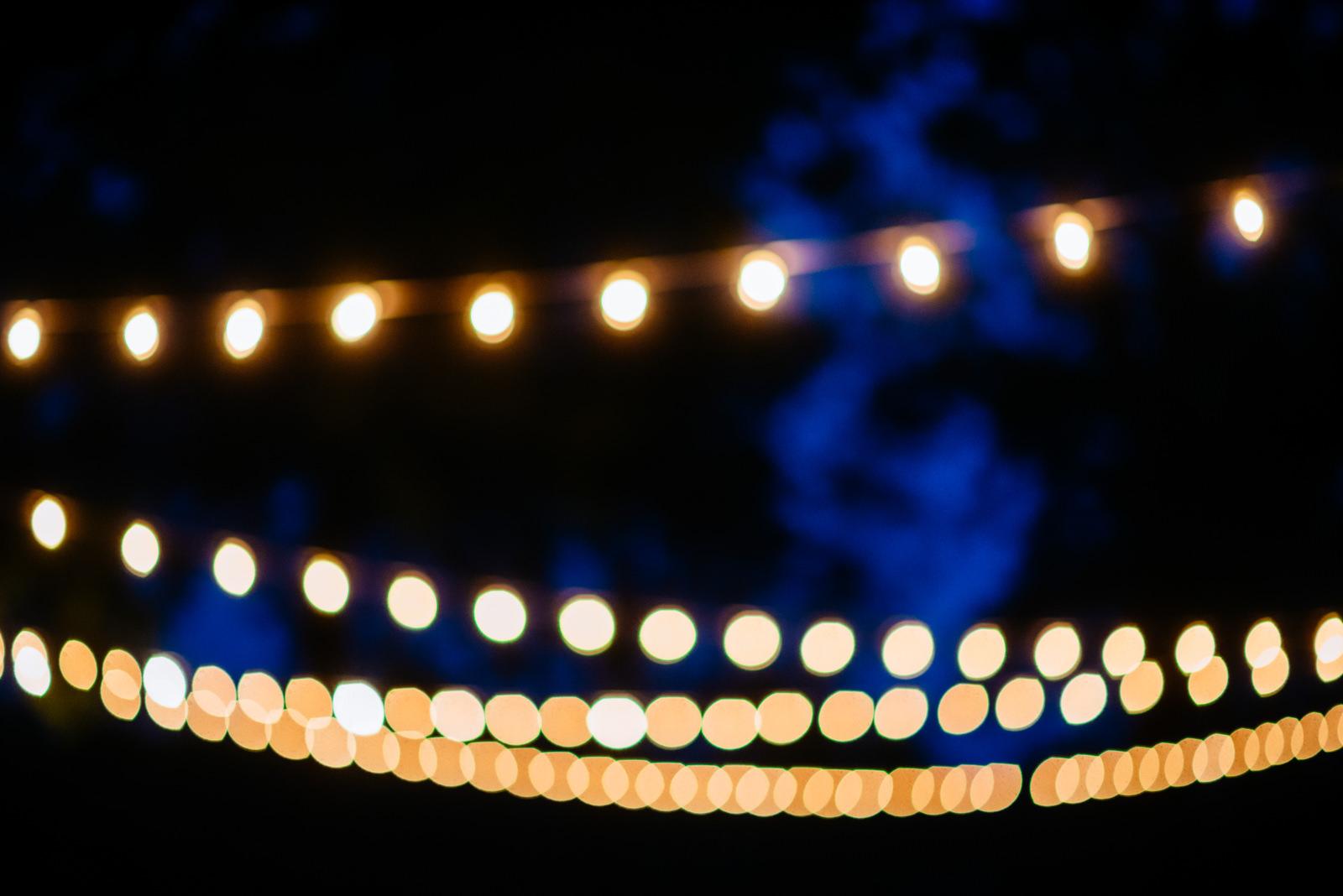 string lights wedding reception details