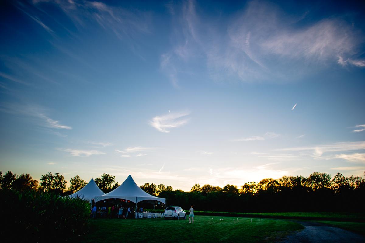 dusk evening backyard ohio wedding