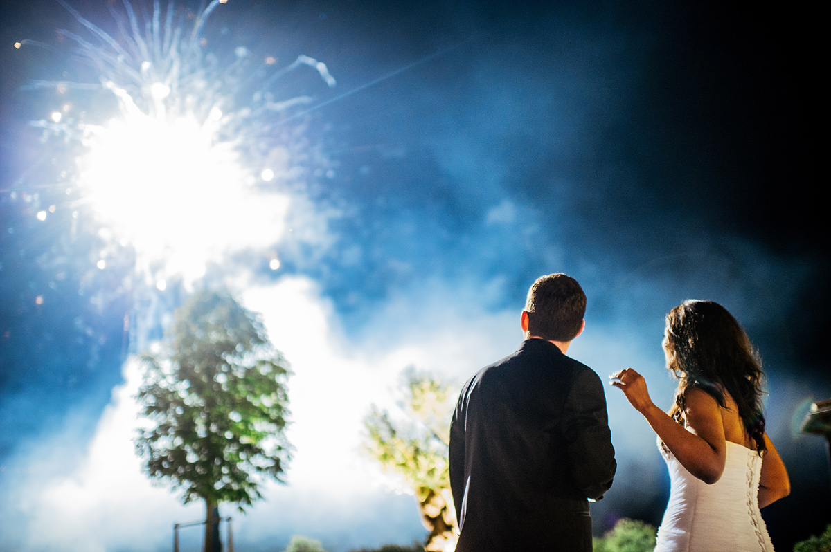 destination wedding fireworks