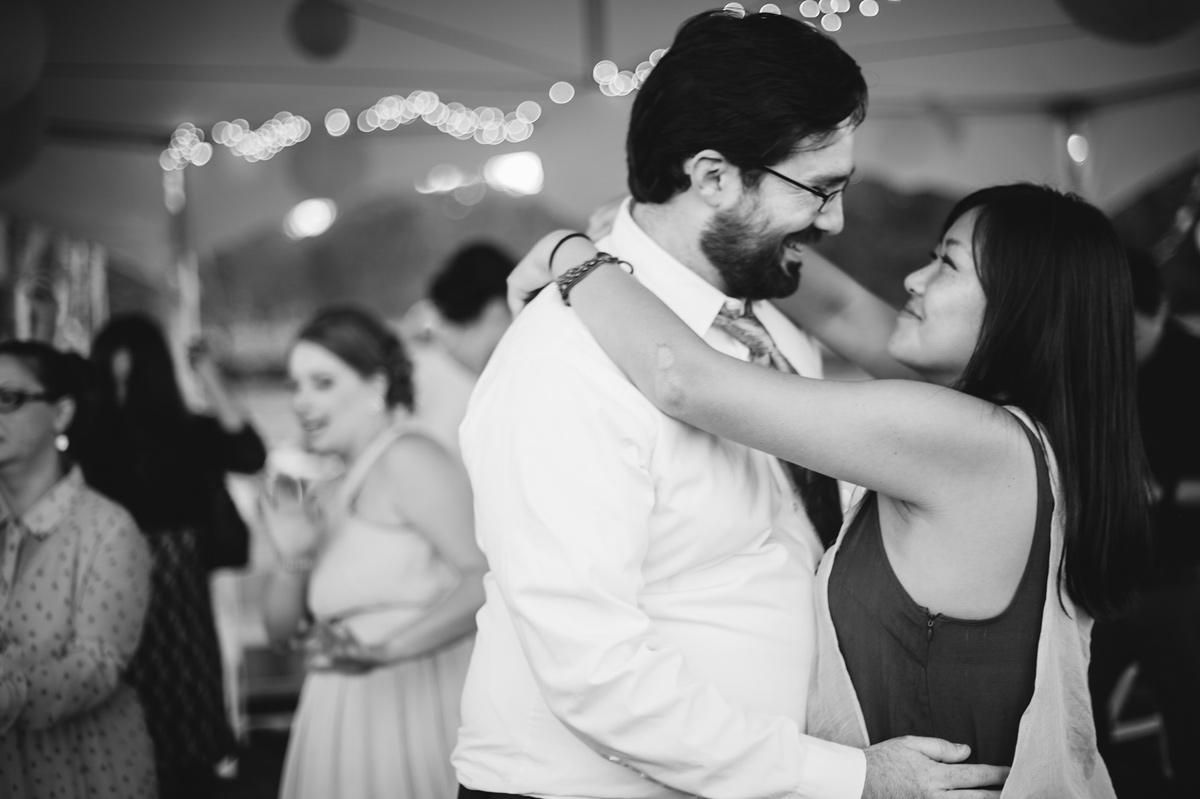 guests slow dancing at wedding