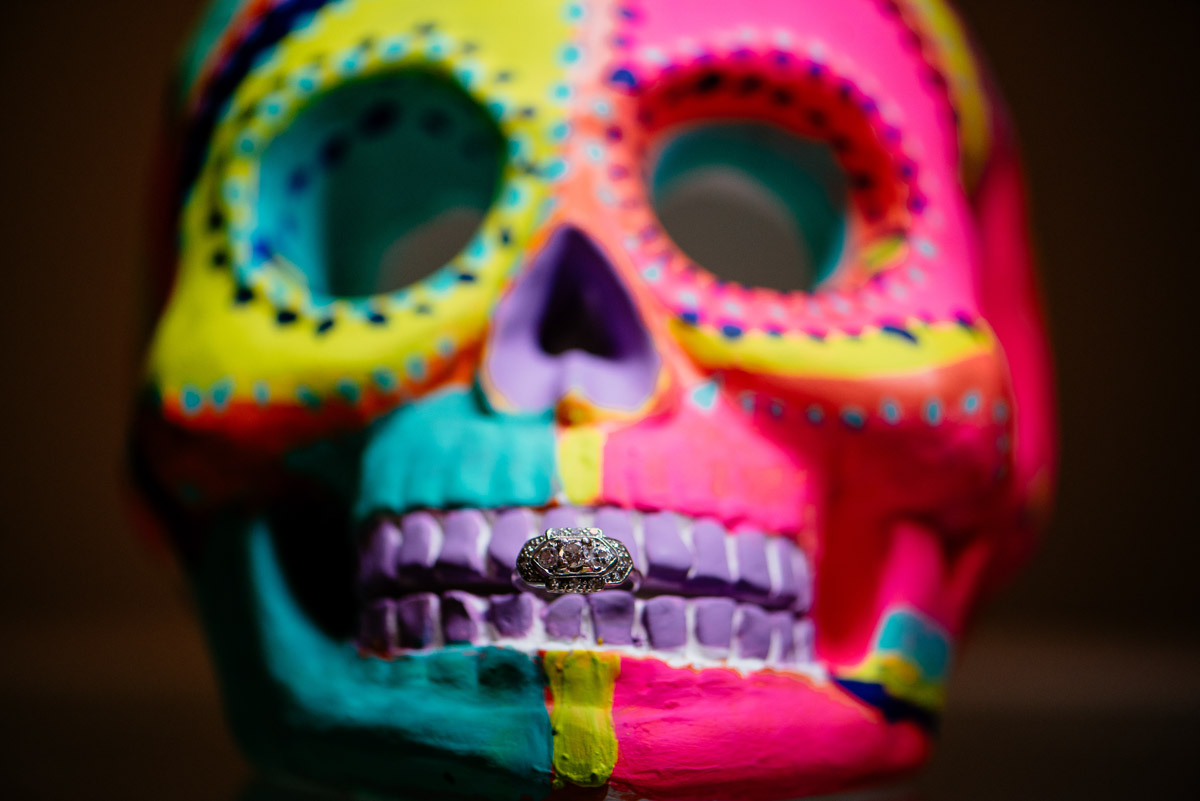 colorful skull engagement ring photo