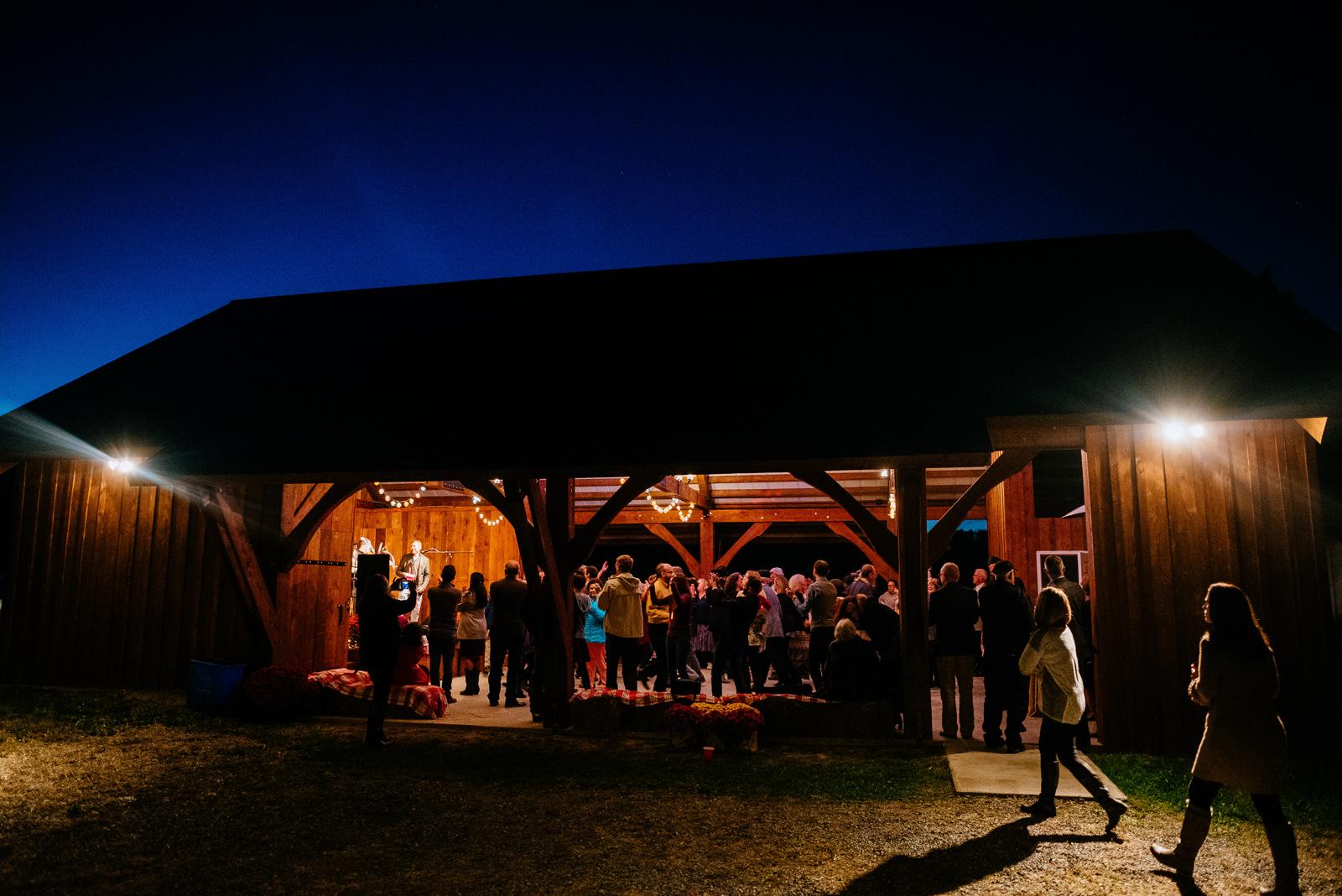 nighttime wv farm wedding