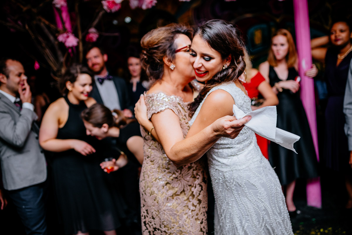 blind whino wedding reception bride dancing with mom