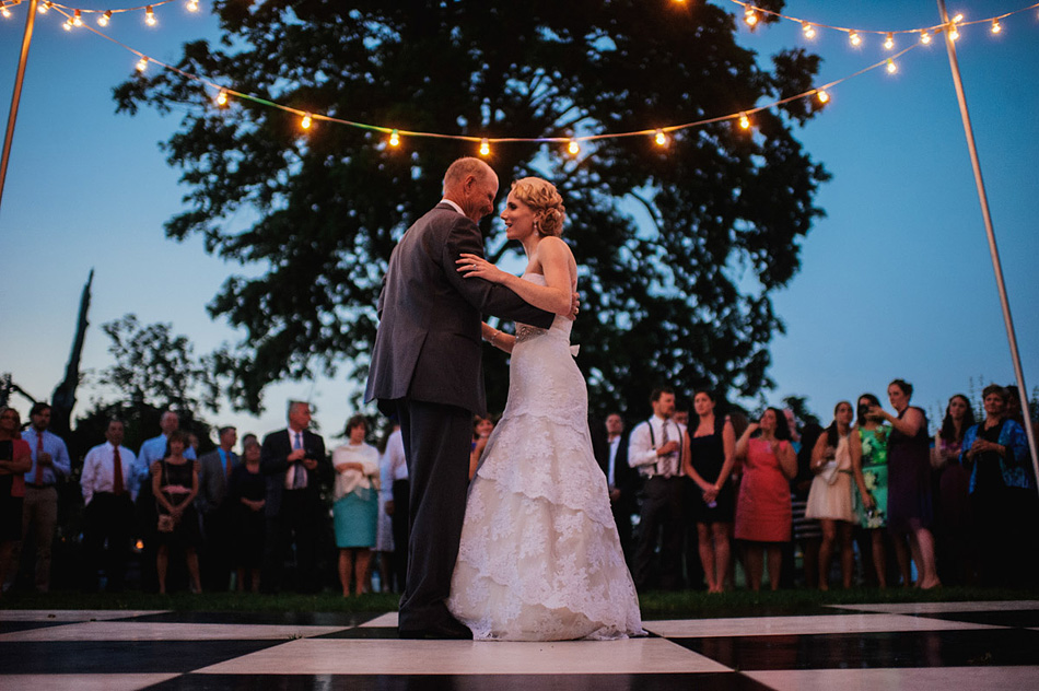 outdoor summer wedding reception father daughter dance