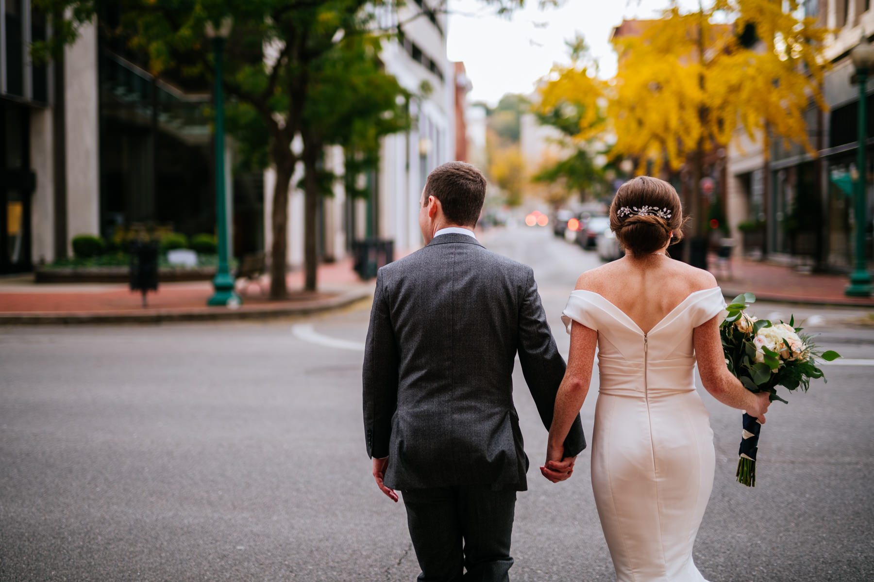 bride and groom walking downtown charleston wv