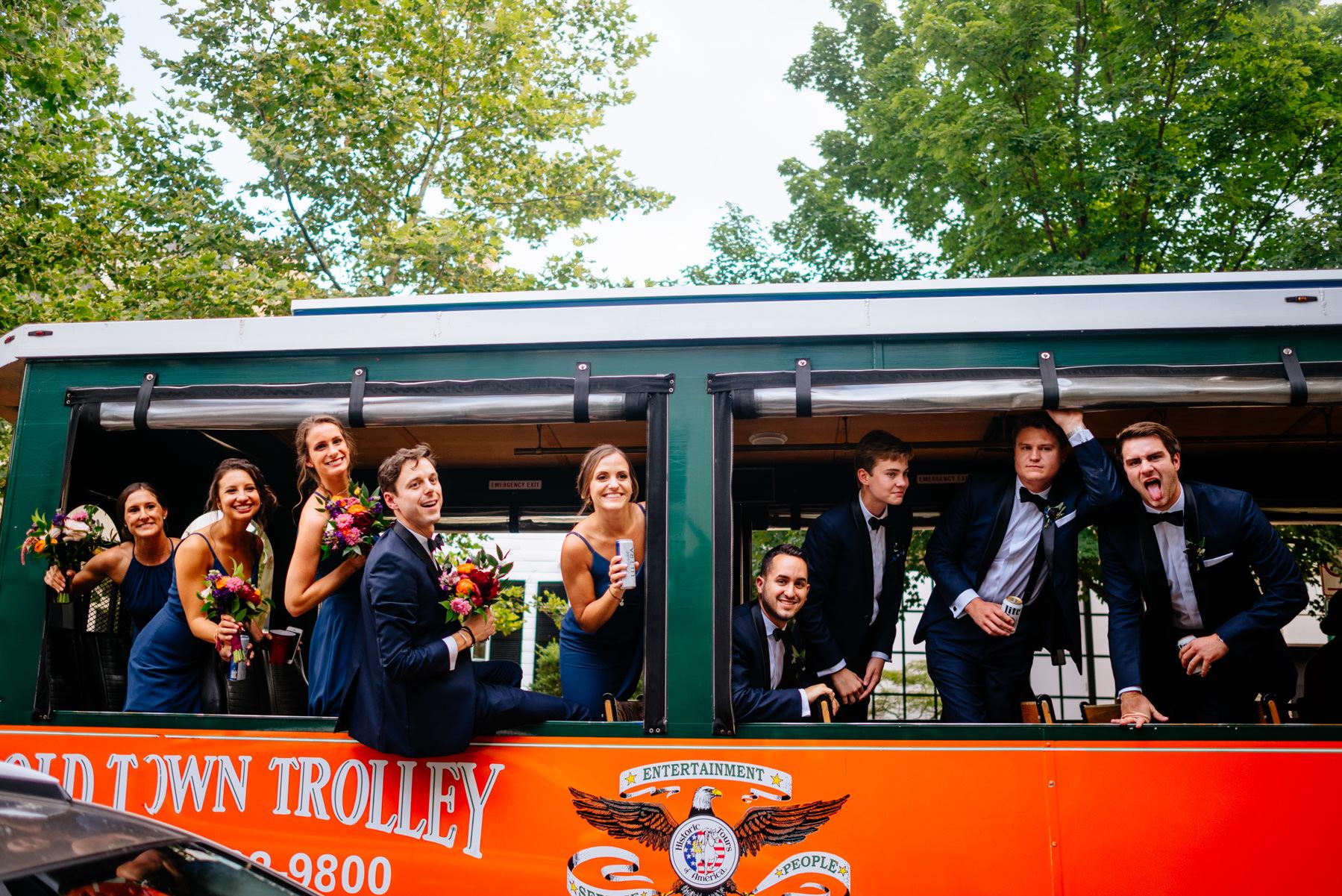wedding party on trolley