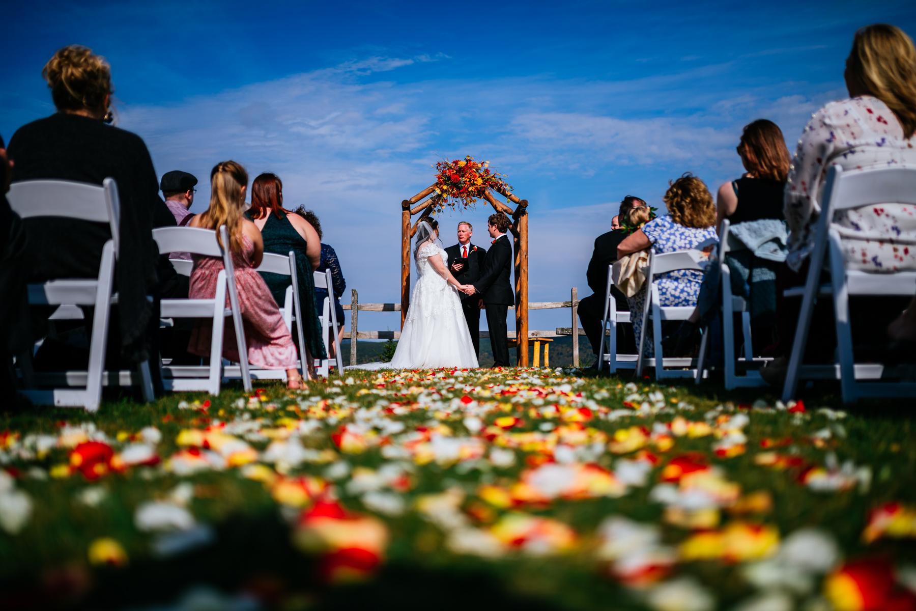 mountain lodge ceremony snowshoe mountain resort wedding
