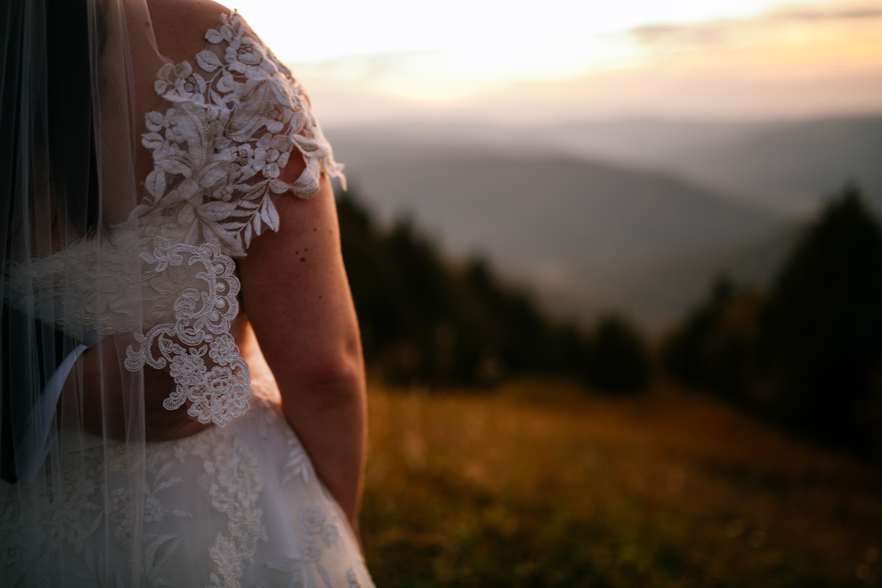 bride looking out over mountains