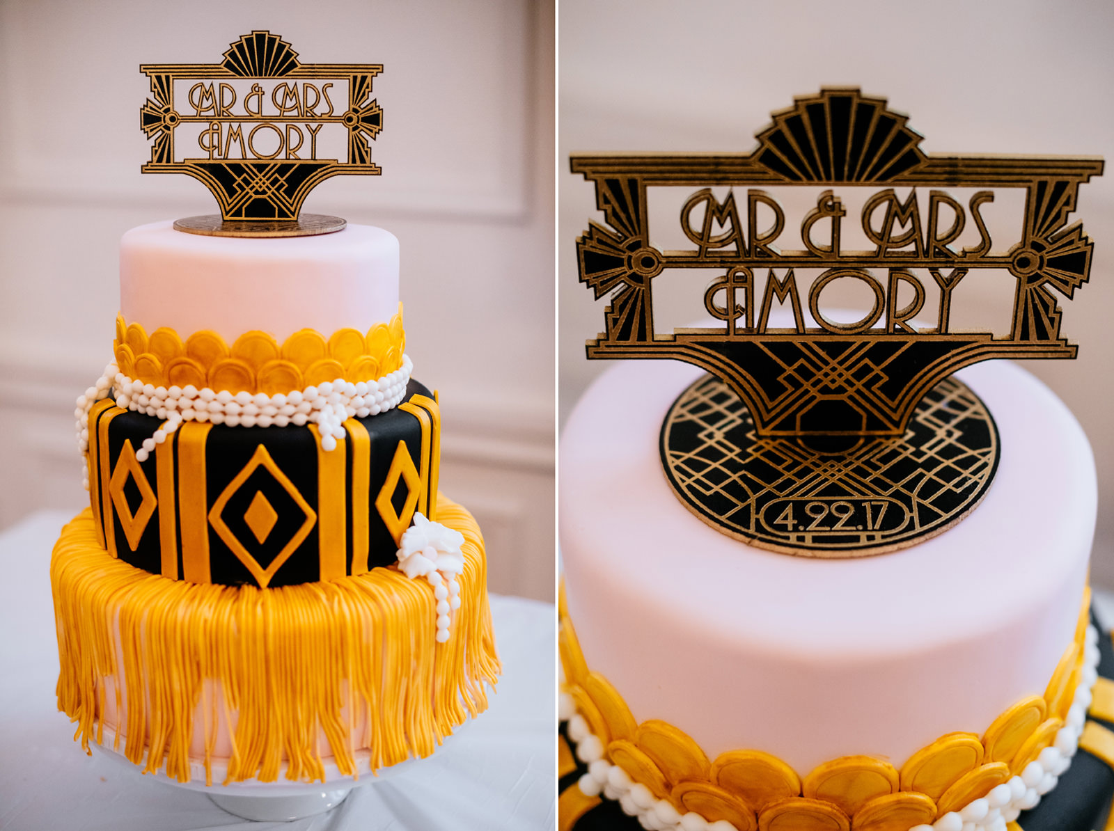 wedding details great gatsby inspired cake topper
